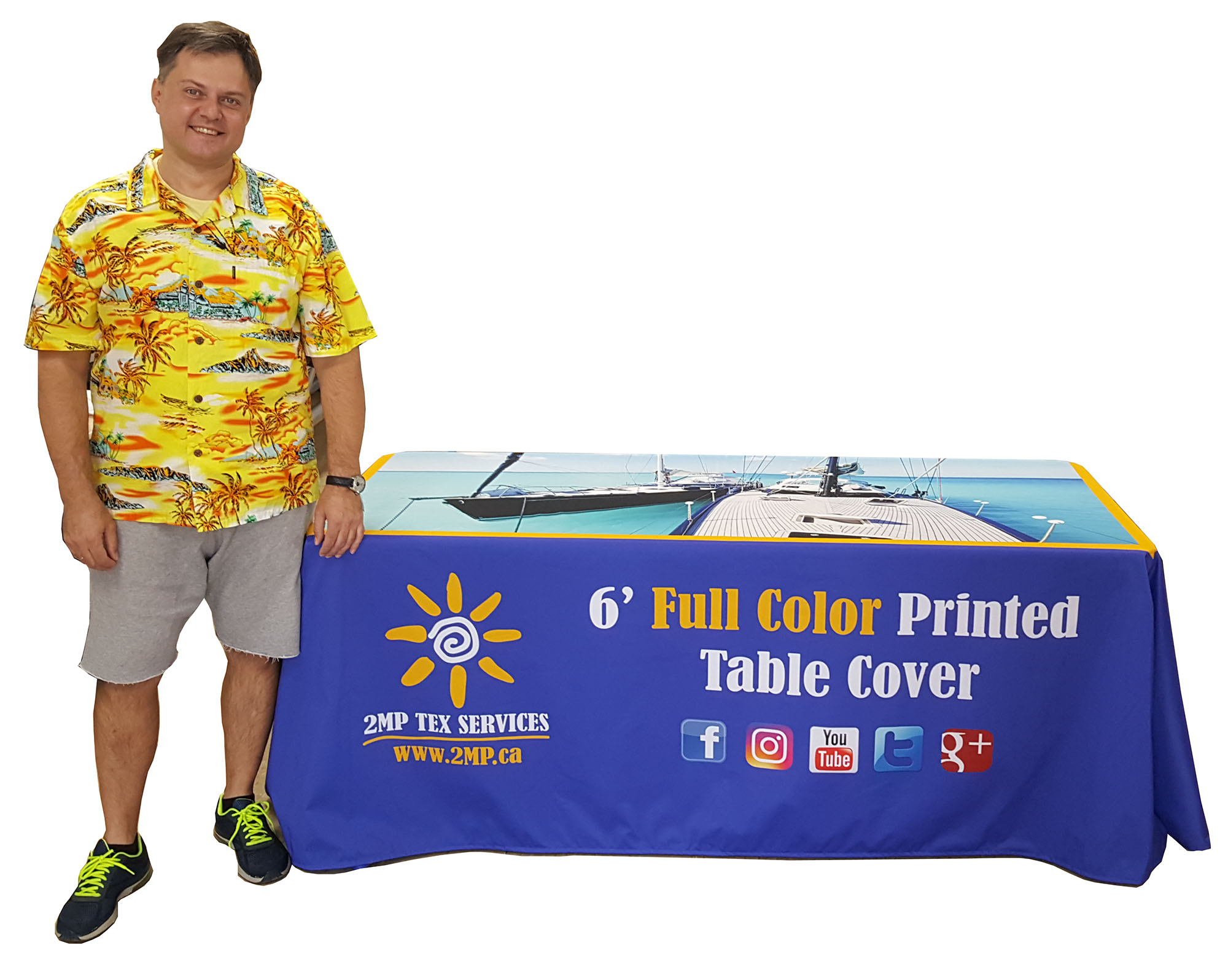 2 DAYS PRODUCTION - Custom Dye-Sublimation Printed Table Covers for Trade Show Marketing Event