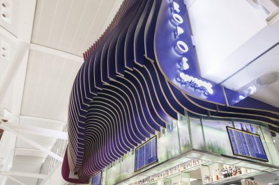 LEDs were incorporated into the end fins for the restaurant's logo signs.