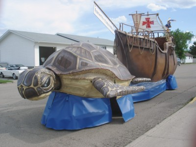 This turtle-and-ship float was designed by Masterhand for the Knights of Columbus to drive through a parade at the 2006 Calgary Stampede.