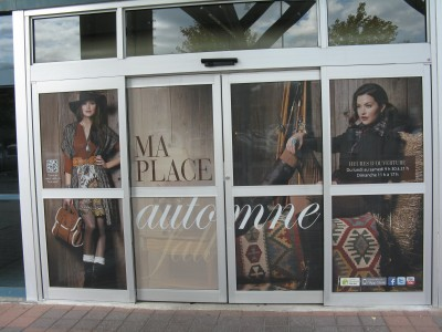 Ottawa-based Miller McConnell Signs prints and installs seasonal window graphics for Place d'Orléans, a local shopping mall, each fall and winter.