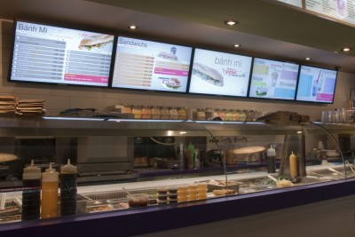 Digital menu boards allow updated menu information to be displayed, including different meals throughout a single day.