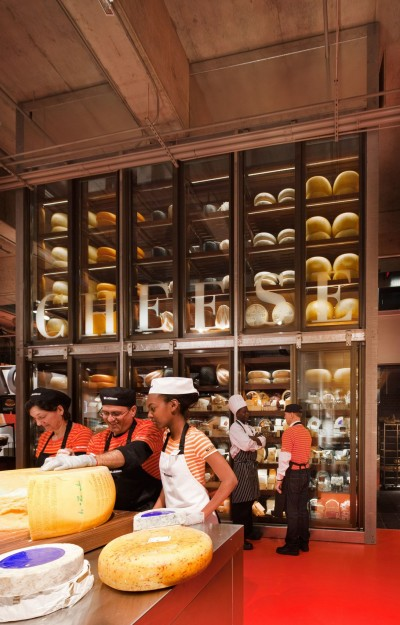 The cheese wall uses LEDs, which are doubled up in areas where they need to backlight sign lettering.