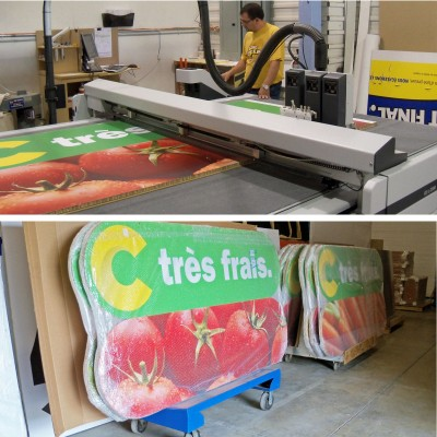 POP graphics for Metro Richelieu's new Super C grocery store in Saint-Laurent, Que., use paper-based boards instead of PVC foam panels.