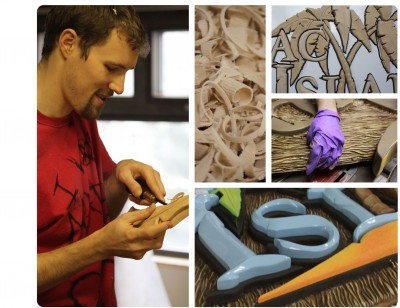 Designers, sculptors and painters contribute different strengths to the same sign project.