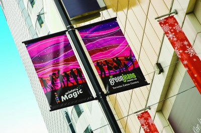 The Downtown Yonge BIA's seasonal banners offer promotional opportunities for local businesses, such as Mr. Greenjeans' Restaurant & Bar.
