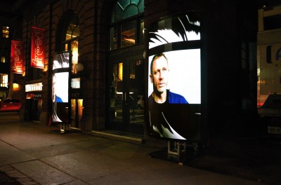 The flexible screens showcased the Skyfall trailer and a new Bond-themed cologne.