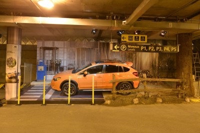 As visitors arrived in the underground parking facility, they saw Subaru's new XV Crosstrek staged in a display area.