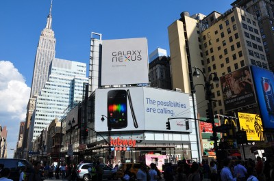 LEDs are being used in ultra-high-contrast digital billboards, such as Vornado Realty Trust's three-panel display at Manhattan's Penn Plaza. Photo courtesy Barco