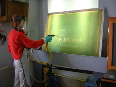 In screenprinting, it is important to wear protective gloves and clothing when cleaning the screens and squeegees, as there could be direct contact with UV-curable materials.
