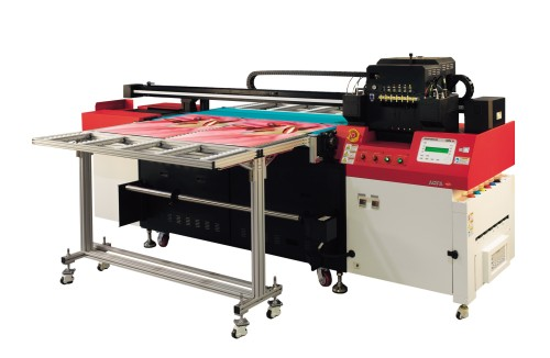 The sign industry has seen the rise of 'hybrid' presses, which combine flatbed and roll-to-roll printing and can produce graphics on a diverse range of materials, including glass, wood and metal. Photo courtesy Agfa Graphics