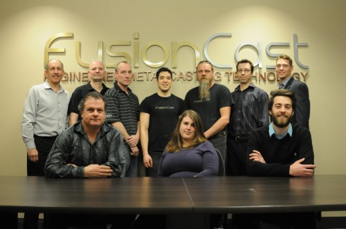 Pictured are: (back row, left to right) Randy Shermet, general manager (GM); Andrian Manoil, production specialist; Tod Kennedy, production specialist; Mattin Tateyama, production manager; Wayne Greene, production specialist; Adam Raby, senior designer; Ben Morgan, marketing co-ordinator; (front row, left to right) Rod Pilon, memorial, home and cottage sales manager; Brittni Pryputniski, office manager; and Davin Crawford, junior designer. Photos courtesy FusionCast