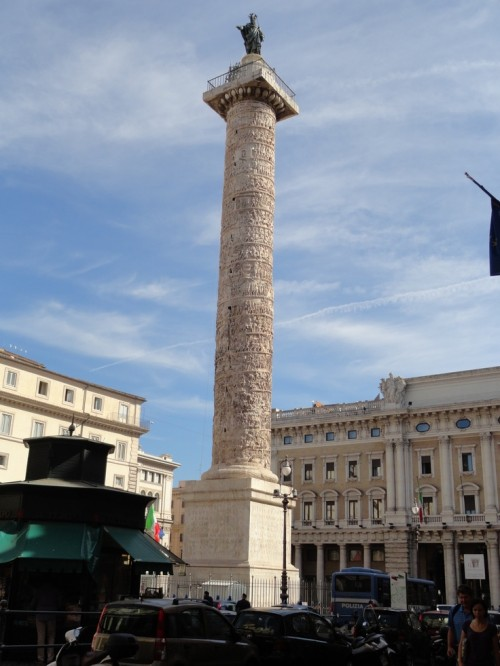 Trajan's Column in Rome features the first Latin alphabet style, using simple serifs and only capital letters.