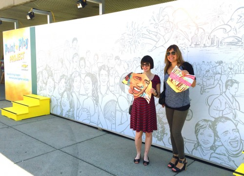 Freelance illustrator Jacqui Oakley (left) and MacLaren McCann art director Ann Solecki (right) unveiled the mural at Nathan Phillips Square in July. Photos courtesy Jacqui Oakley