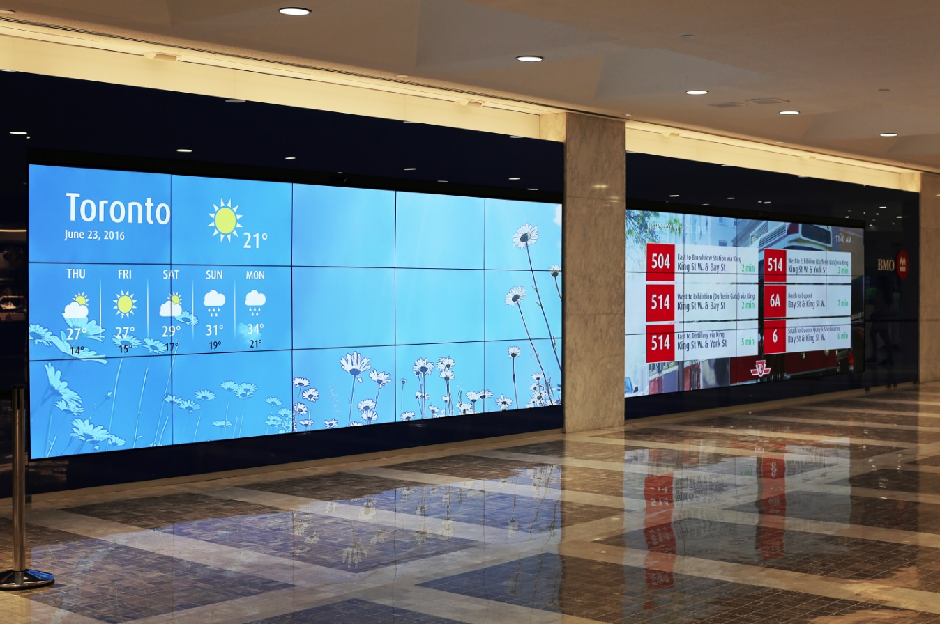 bmo unveils flagship video wall sign media