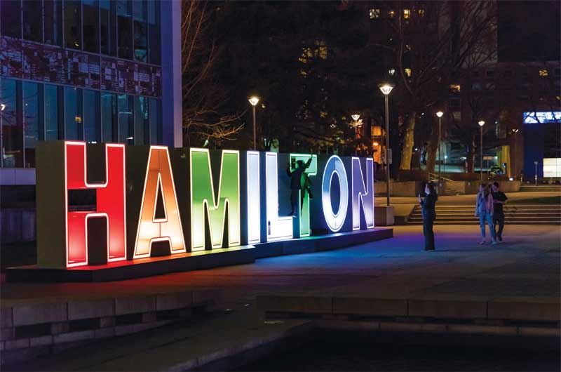 Installed in the forecourt of Hamilton City Hall, the sign has quickly become a popular photo opportunity.
