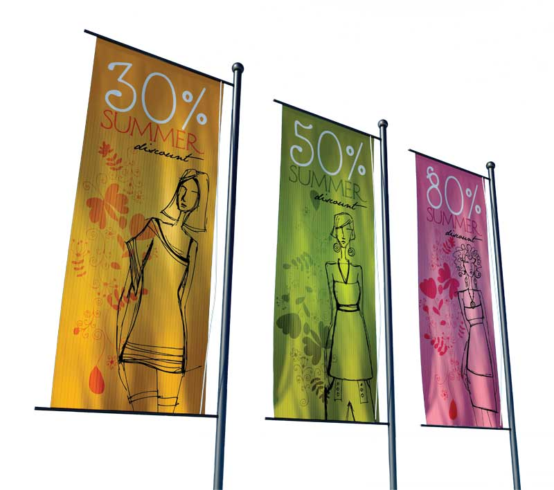 Larger air holes in fabric will allow wind to pass through digitally printed banners.