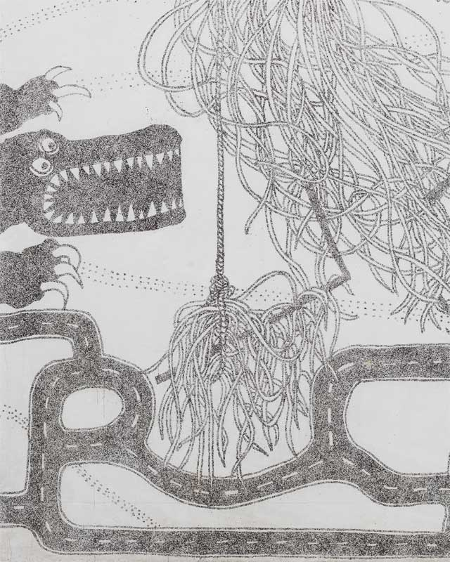 Rebecka Bebben Andersson's artistic rendering of a crocodile, gorilla, and other fun elements front the playground and reflect both the chalkboard inside and the wider world outside the school.