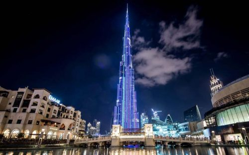 Boasted as the tallest media façade, the Burj Khalifa in Dubai, UAE, features a light-emitting diode (LED) screen that runs up 770 m (2526 ft) of the 828-m (2716-ft) tall tower.