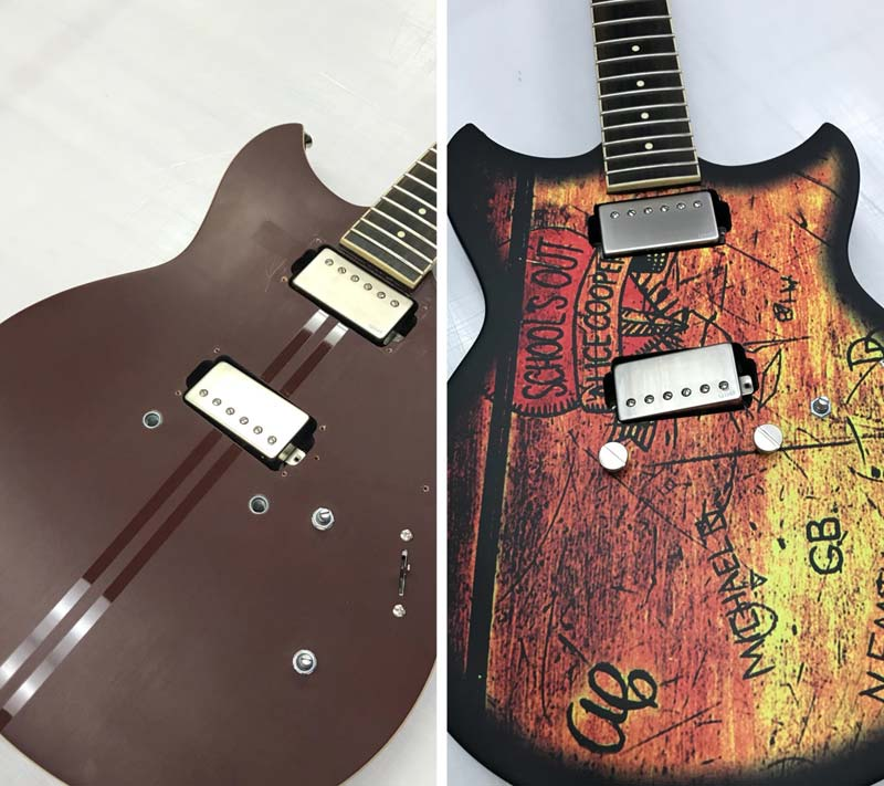 Phillips Signs used supercast film for the appearance of weathered wood on a guitar.