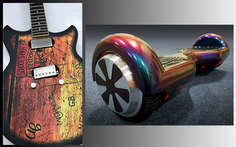 A guitar (Phillips Signs) and a hoverboard (Vehicle Wraps Inc.) were among the vinyl film wrap projects recognized by Avery Dennison.