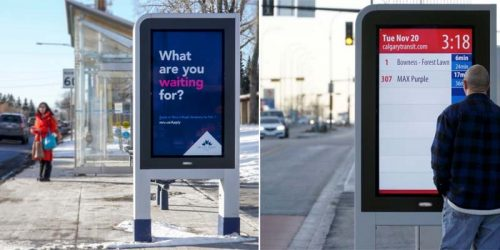 Pattison Outdoor has expanded its advertising reach in Calgary, Alta., with new Bus Rapid Transit (BRT) passenger displays (left). The 'Next Bus Arrival' feature provides MAX Transit riders with up-to-the-minute information (right).