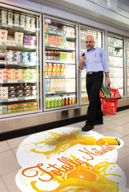 Floor decals can be added to a list of must-have advertising graphics, from exterior signage to point-of-sale (POS) to shelf-edge displays.