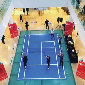 An area of the Core Shopping Centre in Calgary, Alta., was turned into a tennis court using floor graphics that were designed, printed, and installed by Print Three (also in Calgary) as part of a 10-day promotional campaign for the Calgary National Bank Challenger.