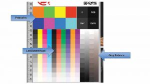 To achieve a Pantone colour, users can refer to the colour mapping chart, which looks like the grid of the game Battleship, and compare it to a swatch printed on their output device on the final media.