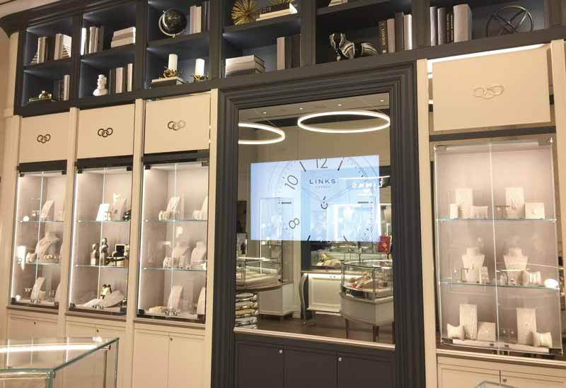 Located behind heavy, two-way mirror glass, this installation required a high brightness display to compensate for the glass and the very high ambient light within the retailer's store. Reflections also needed to be taken into account to ensure better content clarity.