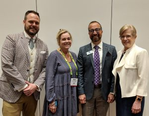 At the 2019 International Sign Association (ISA) International Sign Expo in Las Vegas, Nev., (from left to right): Imprinted Sportswear Show (ISS) show director Joshua Carruth, Impressions magazine's editor-in-chief Marcia Derryberry, ISA's chief operating officer Brandon Hensley, and ISA's president and CEO Lori Anderson.