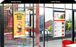 The 1168.4- and 1397-mm (46- and 55-in.) dual-display signage allows retail businesses to feature content both toward the street and in-store in a single display.