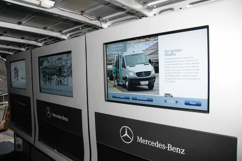 This specialized installation includes three interactive touch displays housed in custom enclosures inside a van at car shows. Visitors were invited to walk through the van to interact with the displays that presented the brand history, technology, and model specifications.