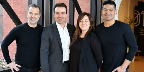 From left to right: Patrick Gagné, CEO, OSMO; Frank Kollmar, president & CEO, L'Oreal Canada; Valérie Forget, programs director, OSMO; Robert Beredo, CDO, L'Oreal Canada.