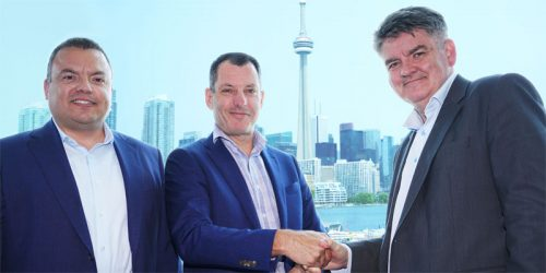 Pattison Outdoor Advertising has been awarded a multi-year advertising program with Nieuport Aviation Infrastructure Partners (Nieuport Aviation). Pictured left to right: Nieuport commercial director Jason Attard, Pattison Outdoor vice-president and general manager Brian Rodkin, and Nieuport CEO, Neil Pakey at the Passenger Terminal of Billy Bishop Toronto City Airport.