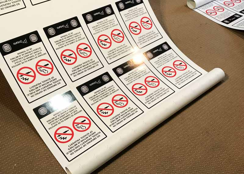 For school settings, the team at 1 Hour Signs & More produced signs prohibiting vaping and smoking within 20 m (65 ft) of school property and public areas.