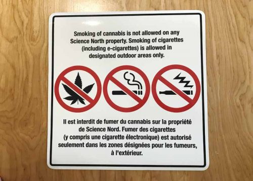Orders for signs prohibiting smoking, vaping, and cannabis use poured in by the thousands after the new recreational cannabis legislation was passed.