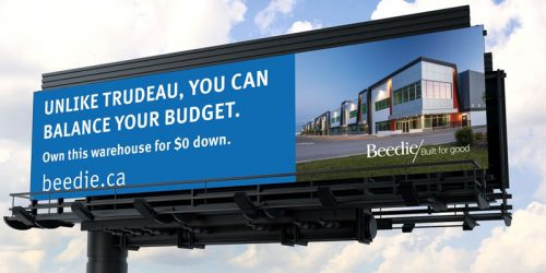 With Justin Trudeau reinstated as prime minister, Beedie has launched a cheeky out-of-home (OOH) advertising campaign in Calgary.