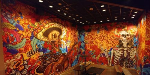 The Diablo's Cantina restaurant features dramatic wall murals printed on Drytac ReTac Textures.
