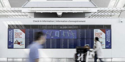 Samsung Electronics Canada has installed digital display sensors to enhance the overall traveller experience at Toronto Pearson International Airport.