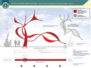 Deer antler sculpture creates unique gateway entry sign