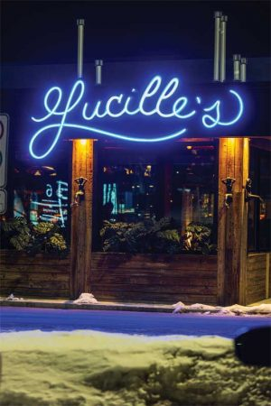 This stunning custom sign for Lucille's restaurant in Laval, Que., consists of flex light-emitting diodes (LEDs) that illuminate the vintage-style letters, which are painted proprietary blue and installed on all three elevations.