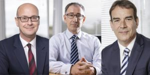 Left to right: Ian Tichias, chief financial officer, John Mills, CEO, and Andrew Herbert, chairman, have invested in the company, buying 275,000 shares among themselves.