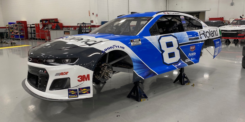 The Tyler Reddick No. 8 car getting ready to leave the RCR Graphics Center in Welcome, North Carolina.