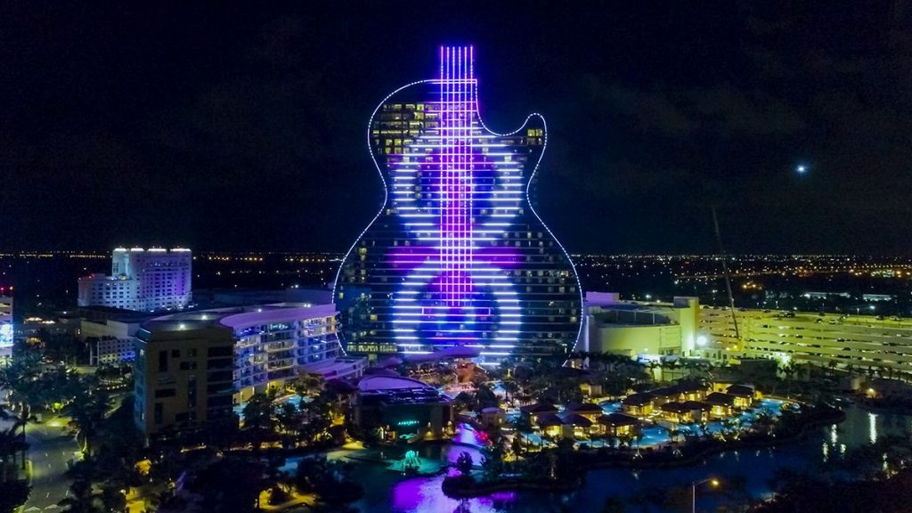 The exterior of the Seminole Hard Rock Hotel & Casino in Hollywood, Fla., serves as a screen and stage to orchestrated outdoor music and live shows, displaying the light-emitting diode (LED) lights built into all sides of the structure.