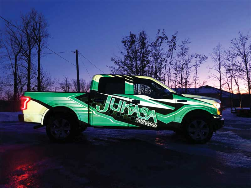 Jukasa Designs has a thriving vehicle graphics business, about 70 per cent of which constitutes fleet graphics.