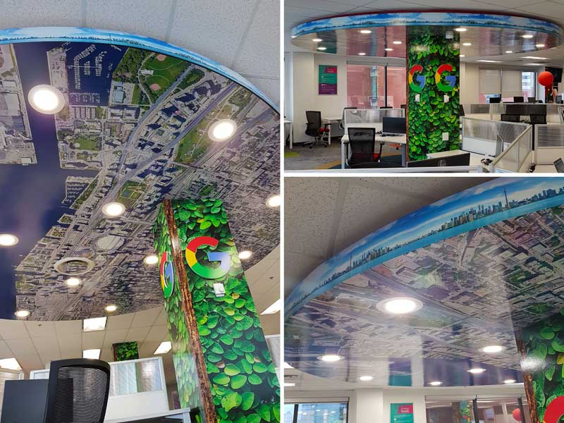 Using Google Maps as inspiration, Signs Alive Inc., designed and manufactured a digitally printed vinyl wrap for a 4.6-m  (15-ft) diameter  drop ceiling.