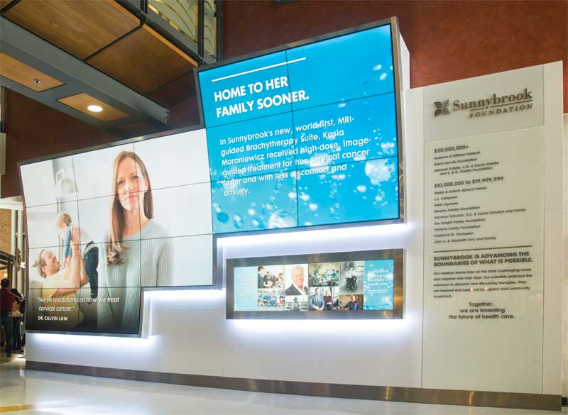The Sunnybrook Health Sciences Centre (SHSC) has one of the largest and most complex digital donor recognition walls in Canada.