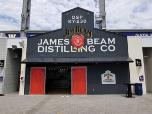 The shop was commissioned by the Winnipeg Blue Bombers to replicate the exterior of the Jim Beam Still House in Louisville, Ky. The team used 3M IJ480 film for the exterior graphics as wrap had to be stretched over the corrugated steel siding.