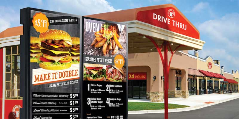 As outdoor signage continues to evolve, quick-service restaurants (QSRs) are seeking digital technology to engage a captive audience at the drive-thru and capitalize on new opportunities.