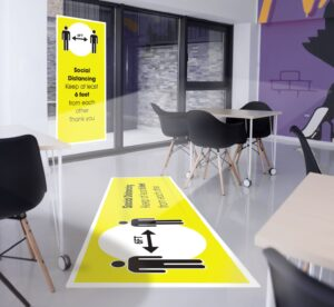 Drytac's social distancing signage solutions guide, 'Open, Innovating, Moving Forward,' contains information on floor graphics media, and provides an overview of the brand's window and wall graphics solutions for safety signage.